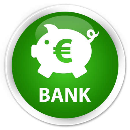 saving accounts: Bank (piggy box euro sign) green glossy round button Stock Photo