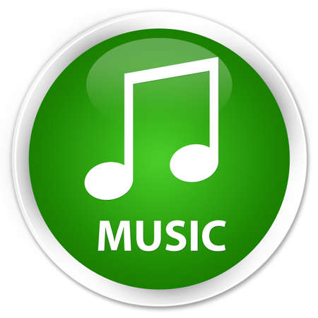 tune: Music (tune icon) green glossy round button Stock Photo