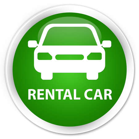 rental: Rental car green glossy round button