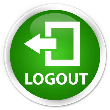 logout: Logout green glossy round button Stock Photo