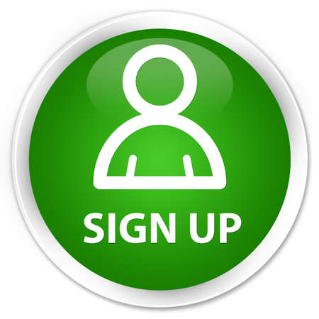 sign up: Sign up (member icon) green glossy round button