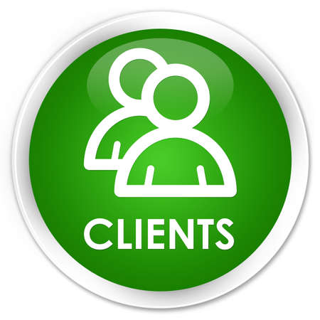 clientele: Clients (group icon) green glossy round button Stock Photo