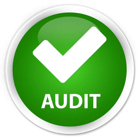 Audit (validate icon) green glossy round button Stock Photo