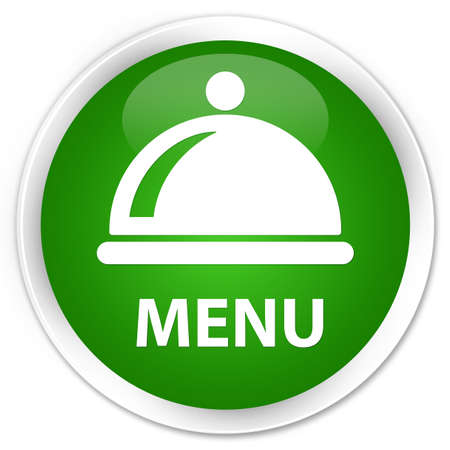 green button: Menu (food dish icon) green glossy round button