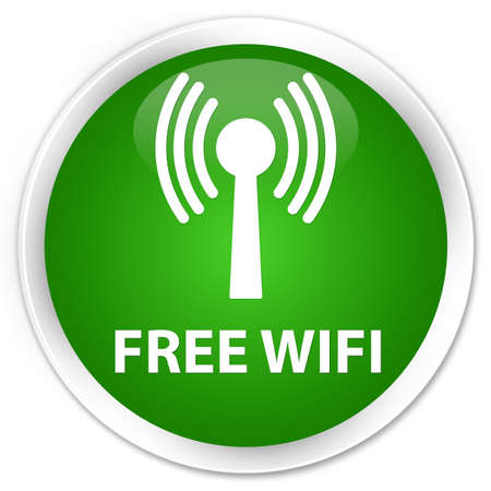 crossover: Free wifi (wlan network) green glossy round button