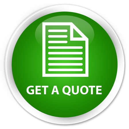 get: Get a quote (page icon) green glossy round button Stock Photo
