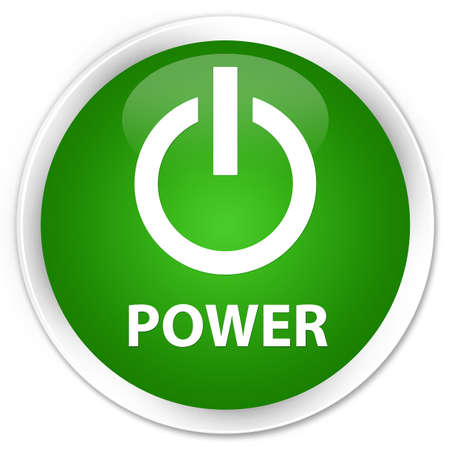 green power: Power green glossy round button