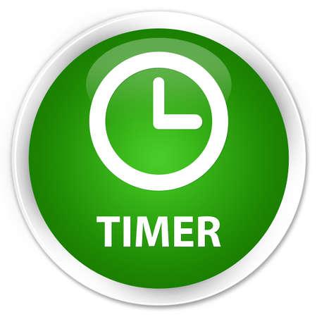 round: Timer green glossy round button