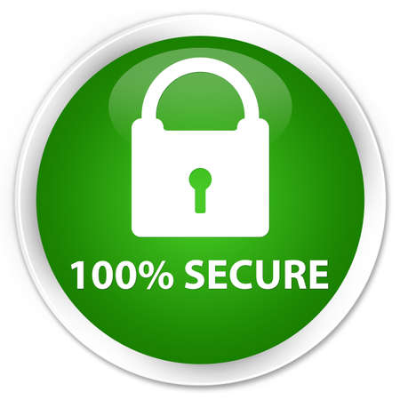 defend: 100% secure green glossy round button Stock Photo