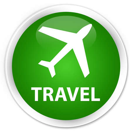 airway: Travel (plane icon) green glossy round button