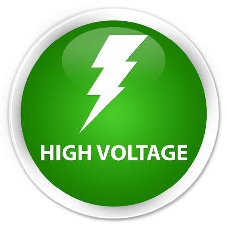 high voltage: High voltage (electricity icon) green glossy round button
