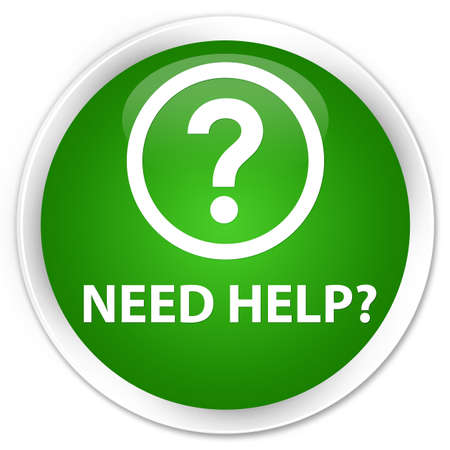 need help: Need help (question icon) green glossy round button