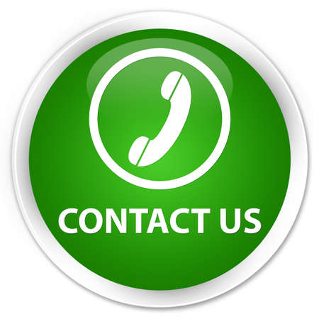 phone button: Contact us (phone icon round border) green glossy round button