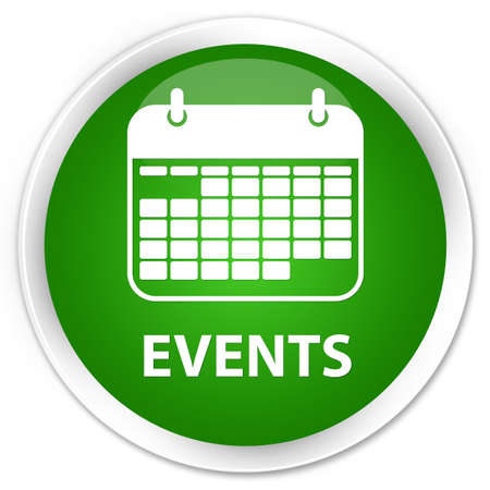 current events: Events (calendar icon) green glossy round button Stock Photo