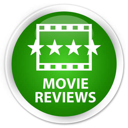 reviews: Movie reviews green glossy round button Stock Photo
