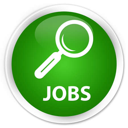 jobs: Jobs green glossy round button