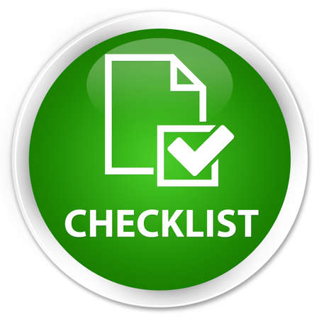 positive note: Checklist green glossy round button Stock Photo