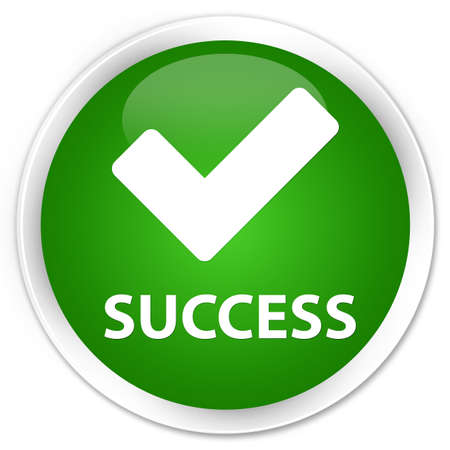 Success (validate icon) green glossy round button Stock Photo