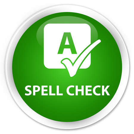 ok sign language: Spell check green glossy round button