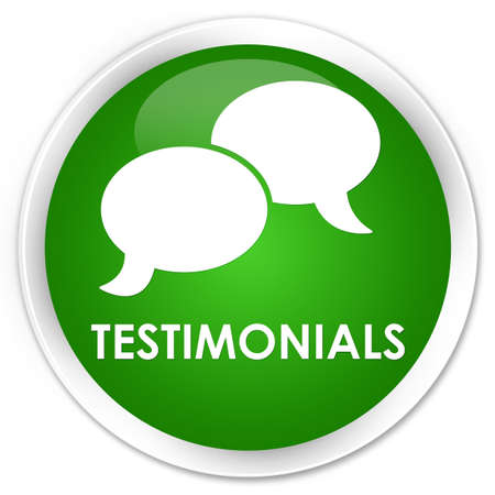 tribute: Testimonials (chat icon) green glossy round button Stock Photo