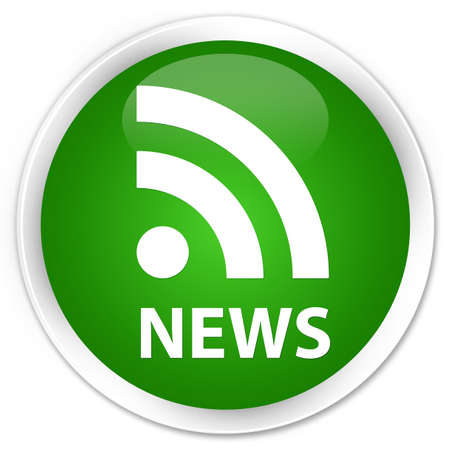 news current events: News (RSS icon) green glossy round button