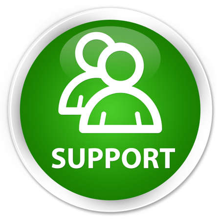 support group: Support (group icon) green glossy round button