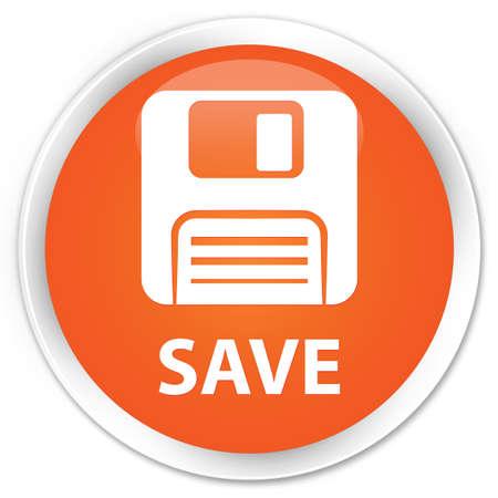 floppy disk: Save (floppy disk icon) orange glossy round button