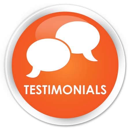 authenticate: Testimonials (chat icon) orange glossy round button Stock Photo