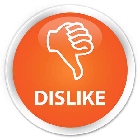 disapprove: Dislike orange glossy round button Stock Photo