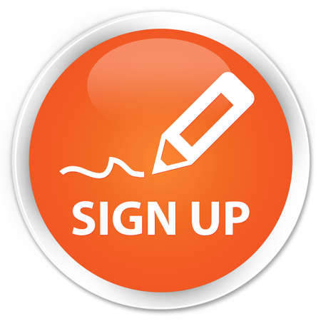 registry: Sign up orange glossy round button Stock Photo