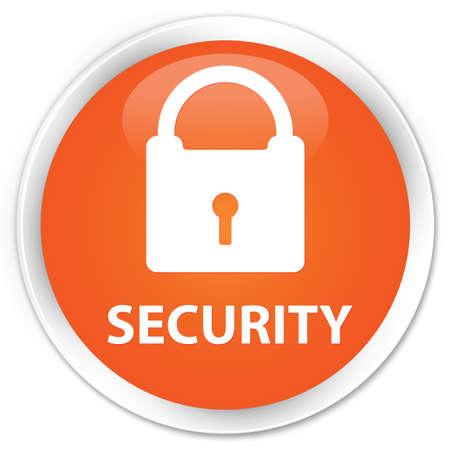 key hole shape: Security (padlock icon) orange glossy round button