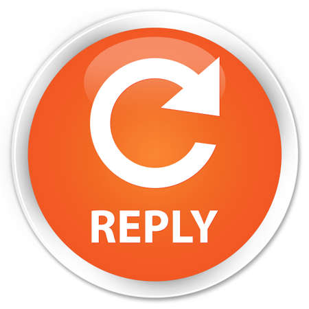 reply: Reply (rotate arrow icon) orange glossy round button Stock Photo