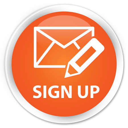 registry: Sign up (edit mail icon) orange glossy round button Stock Photo