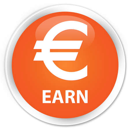 earn: Earn (euro sign) orange glossy round button