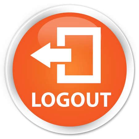 shut out: Logout orange glossy round button Stock Photo
