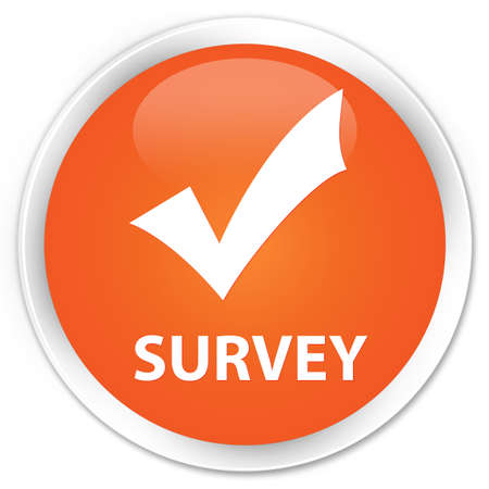 validate: Survey (validate icon) orange glossy round button