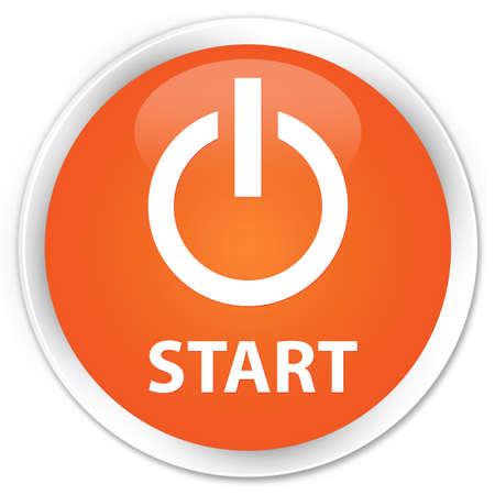 button: Start (power icon) orange glossy round button Stock Photo