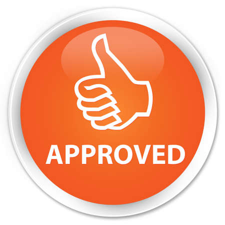 thumbs up: Approved (thumbs up icon) orange glossy round button