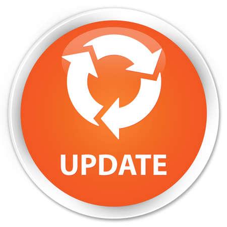 refresh icon: Update (refresh icon) orange glossy round button Stock Photo