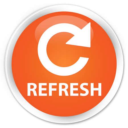rotate: Refresh (rotate arrow icon) orange glossy round button