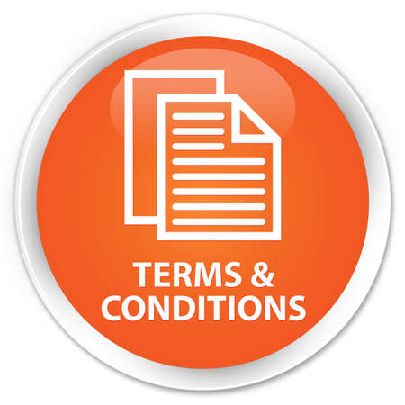 term and conditions: Terms and conditions (pages icon) orange glossy round button