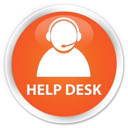 help desk: Help desk (customer care icon) orange glossy round button