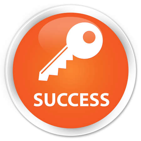 success key: Success (key icon) orange glossy round button