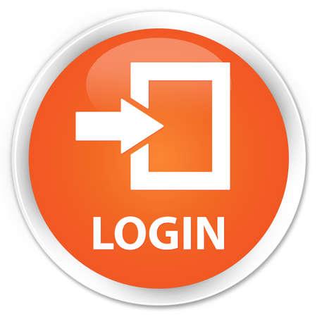 round: Login orange glossy round button