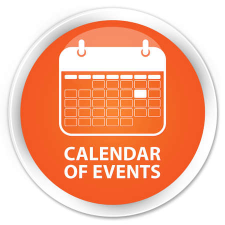 schedule appointment: Calendar of events orange glossy round button Stock Photo