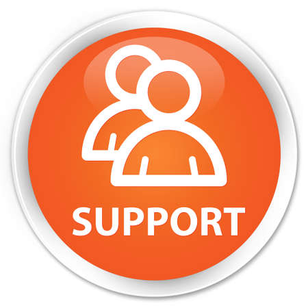 support group: Support (group icon) orange glossy round button