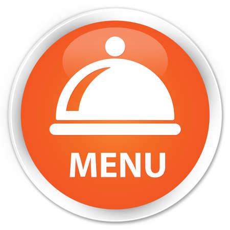 cater: Menu (food dish icon) orange glossy round button Stock Photo