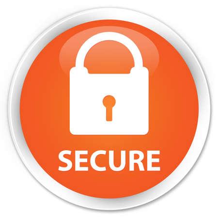 key hole shape: Secure (padlock icon) orange glossy round button