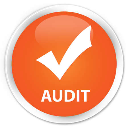 validate: Audit (validate icon) orange glossy round button Stock Photo