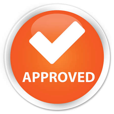validate: Approved (validate icon) orange glossy round button